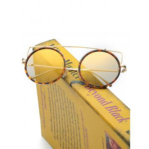Metal Frame Crossbar Circle Sunglasses -