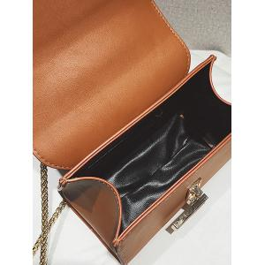 Faux Leather Flap Crossbody Bag with Chain -