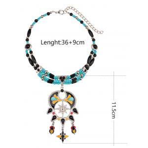 Bohemian Artificial Turquoise Alloy Beaded Necklace -