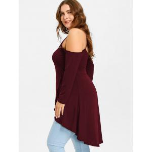 Plus Size Open Shoulder Strappy Overlap Tunic T-shirt -