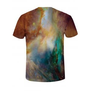 Crew Neck 3D Tiger Print Galaxy Tee -