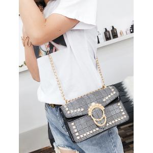 Plaid Chain Shoulder Bag with Pearl Decoration -