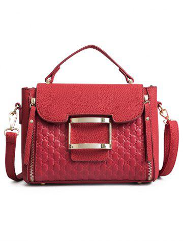 Fancy Bowknot Embossed Matte PU Leather Crossbody Bag