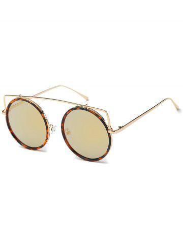 Affordable Metal Frame Crossbar Circle Sunglasses