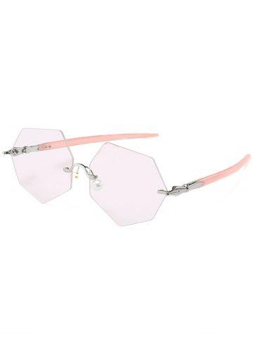 Fashion Anti UV Irregular Rimless Lens Pearl Sunglasses