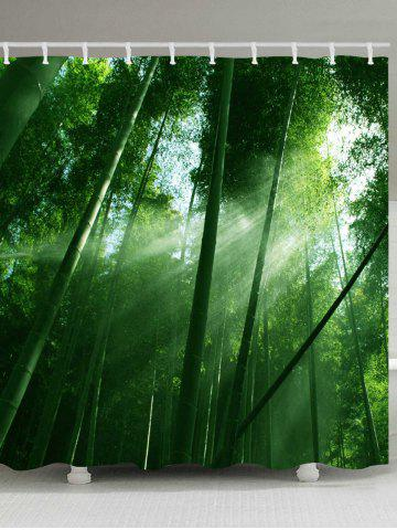 Affordable Sunlight Bamboo Forest Pattern Waterproof Bathroom Shower Curtain
