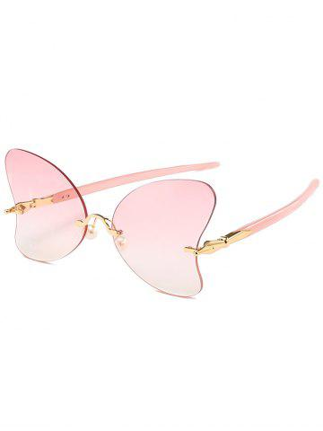 Trendy Unique Rimless Pearl Butterfly Sunglasses