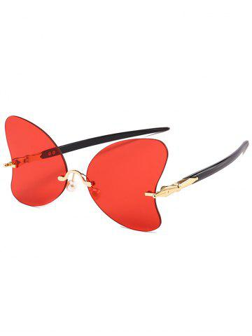 Online Unique Rimless Pearl Butterfly Sunglasses
