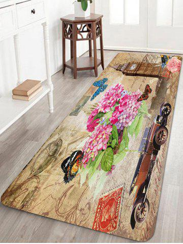 Online Retro Stamp Pattern Anti-skid Water Absorption Area Rug
