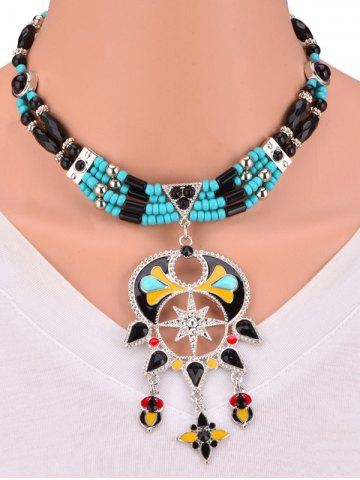 Buy Bohemian Artificial Turquoise Alloy Beaded Necklace