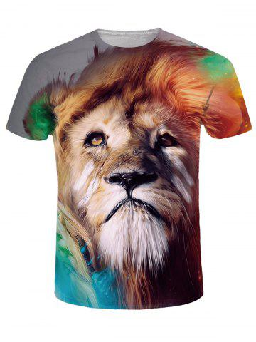 Outfits Crew Neck 3D Tearful Lion Print Tee