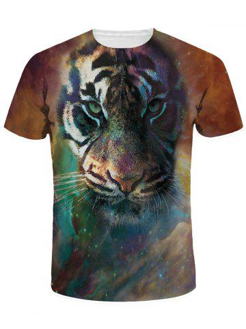Outfit Crew Neck 3D Tiger Print Galaxy Tee