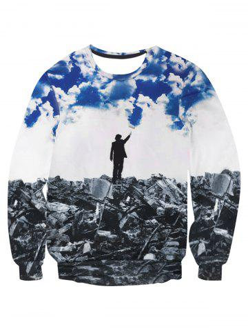 Fashion Ruins Under the Blue Sky Print Pullover Sweatshirt