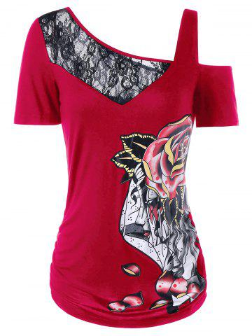 Latest Lace Trim Print Cold Shoulder T-shirt