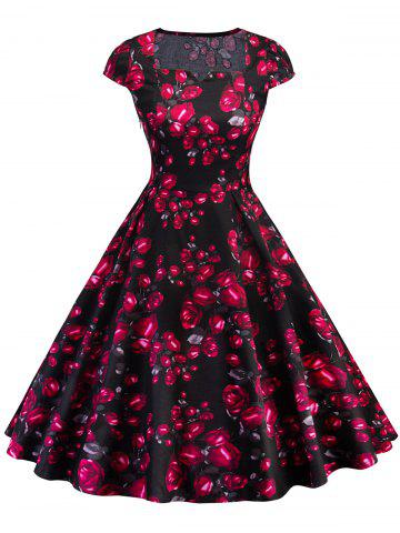 Chic Vintage Square Collar Rose Print Flare Dress