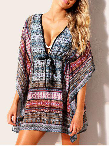 Cheap Drawstring Print Cover Up Dress