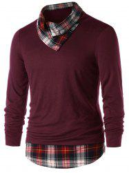Plaid Panel Heaps Collar Top -