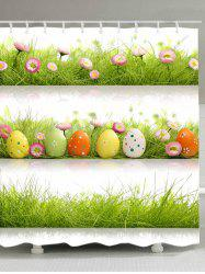 Eggs Grass Pattern Waterproof Bathroom Shower Curtain -