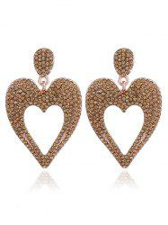 Metal Rhinestoned Heart Drop Earrings -