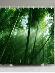 Sunlight Bamboo Forest Pattern Waterproof Bathroom Shower Curtain -