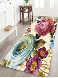 Flowers Painting Pattern Anti-skid Water Absorption Area Rug -