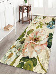 Retro Flowers Pattern Anti-skid Water Absorption Area Rug -
