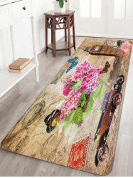 Retro Stamp Pattern Anti-skid Water Absorption Area Rug -