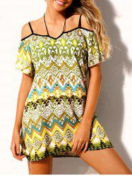 Ethnic Print Open Shoulder Beach Dress -