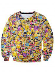 Emoji Print Colorful Pullover Sweatshirt -