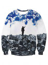 Ruins Under the Blue Sky Print Pullover Sweatshirt -