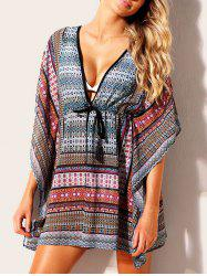 Drawstring Print Cover Up Dress -