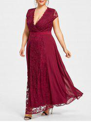 Plus Size Open Back Plunging Neck Dress -