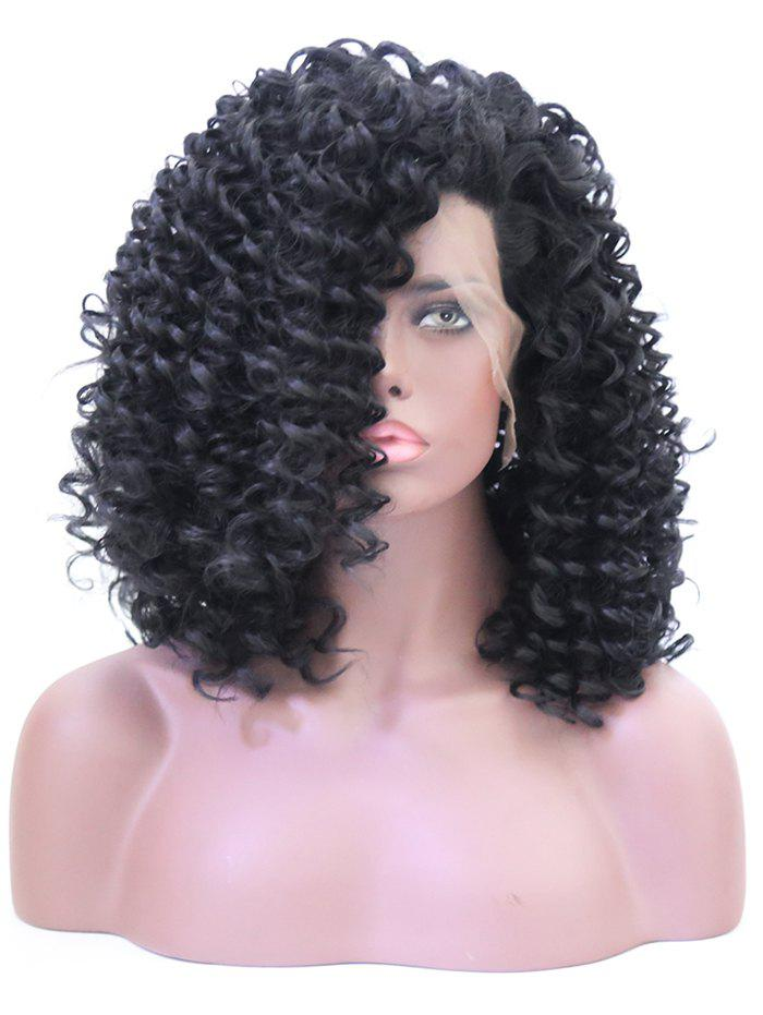 Unique Long Side Bang Shaggy Curly Lace Front Synthetic Wig