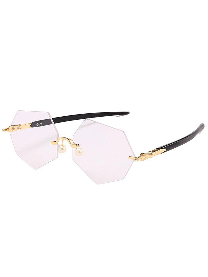 Outfit Anti UV Irregular Rimless Lens Pearl Sunglasses