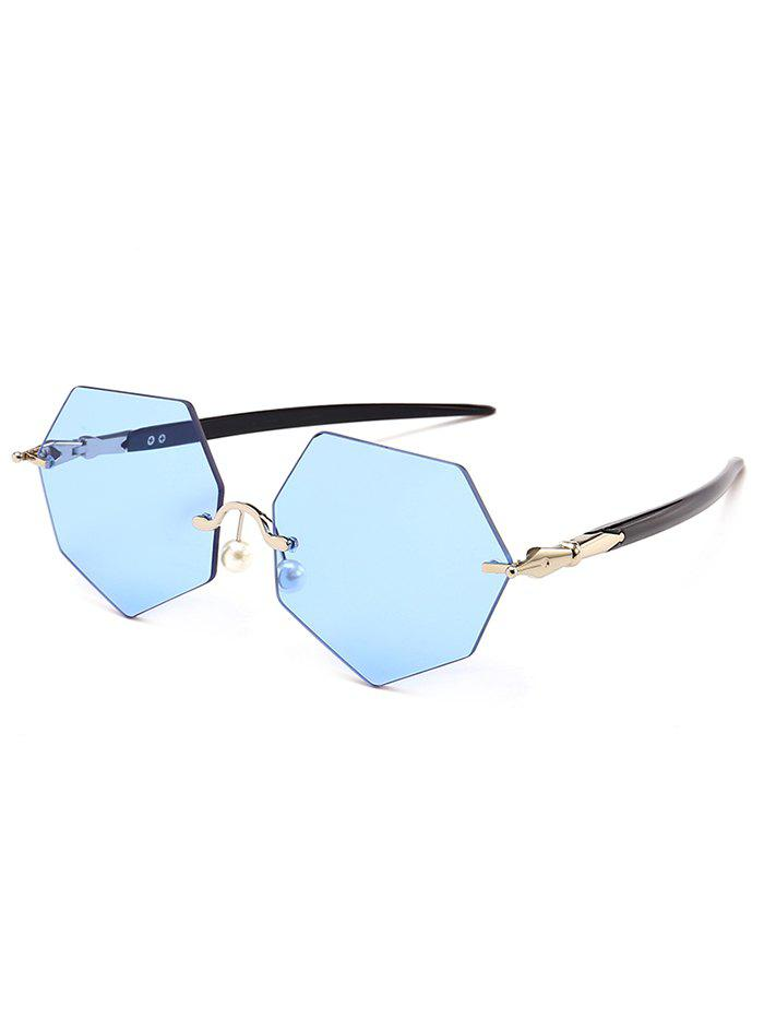 Fancy Anti UV Irregular Rimless Lens Pearl Sunglasses