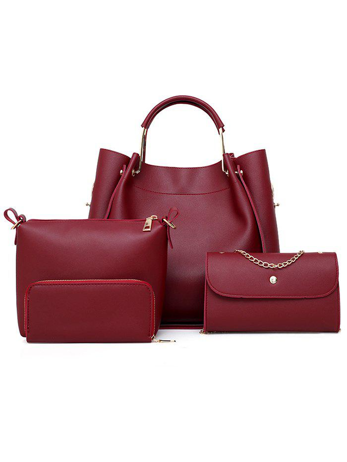 Fancy PU Leather Tote Satchel Purse Hand Bag 4 Pieces Set