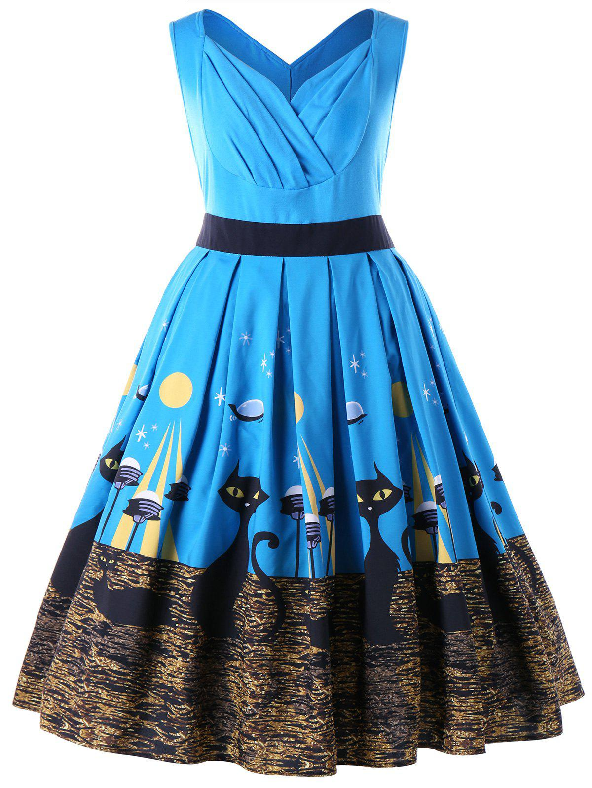 Cheap Plus Size Sleeveless Kitten Retro Swing Dress