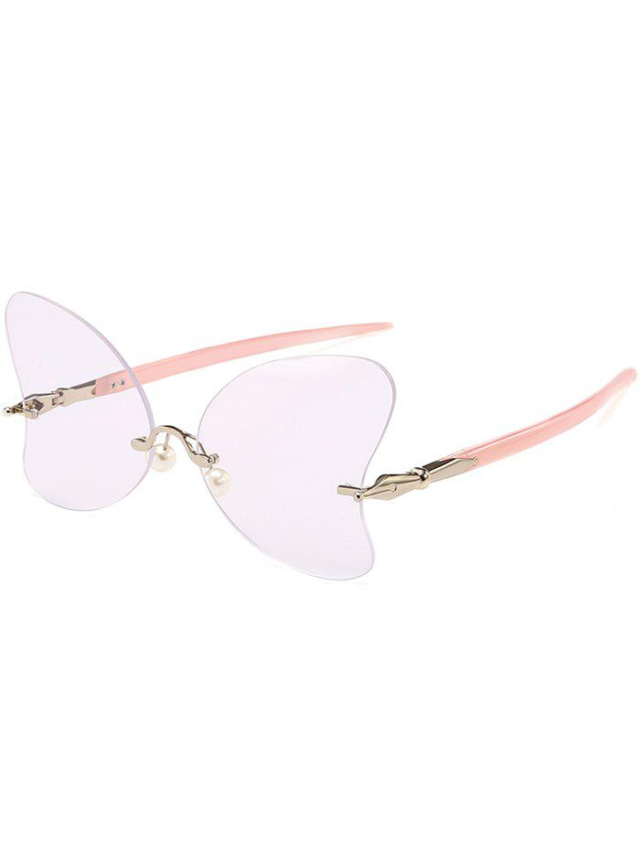 New Unique Rimless Pearl Butterfly Sunglasses