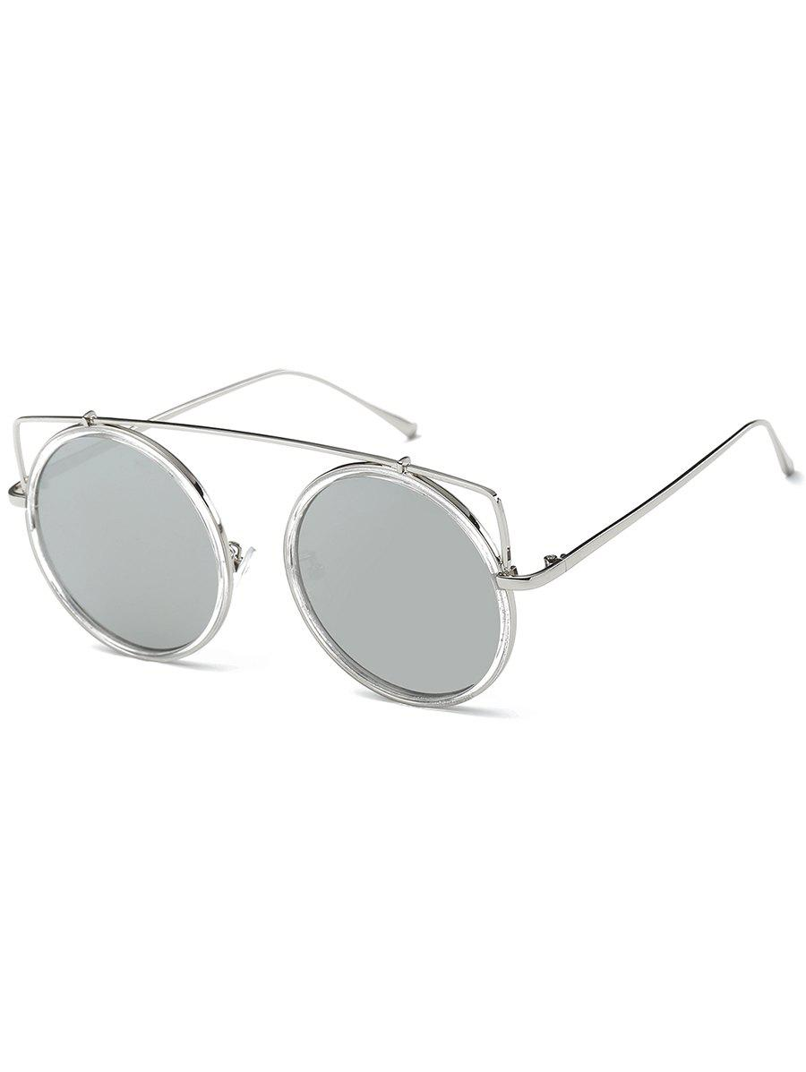 Sale Metal Frame Crossbar Circle Sunglasses