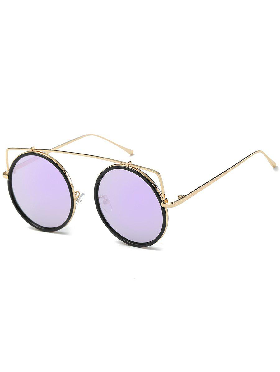 Chic Metal Frame Crossbar Circle Sunglasses