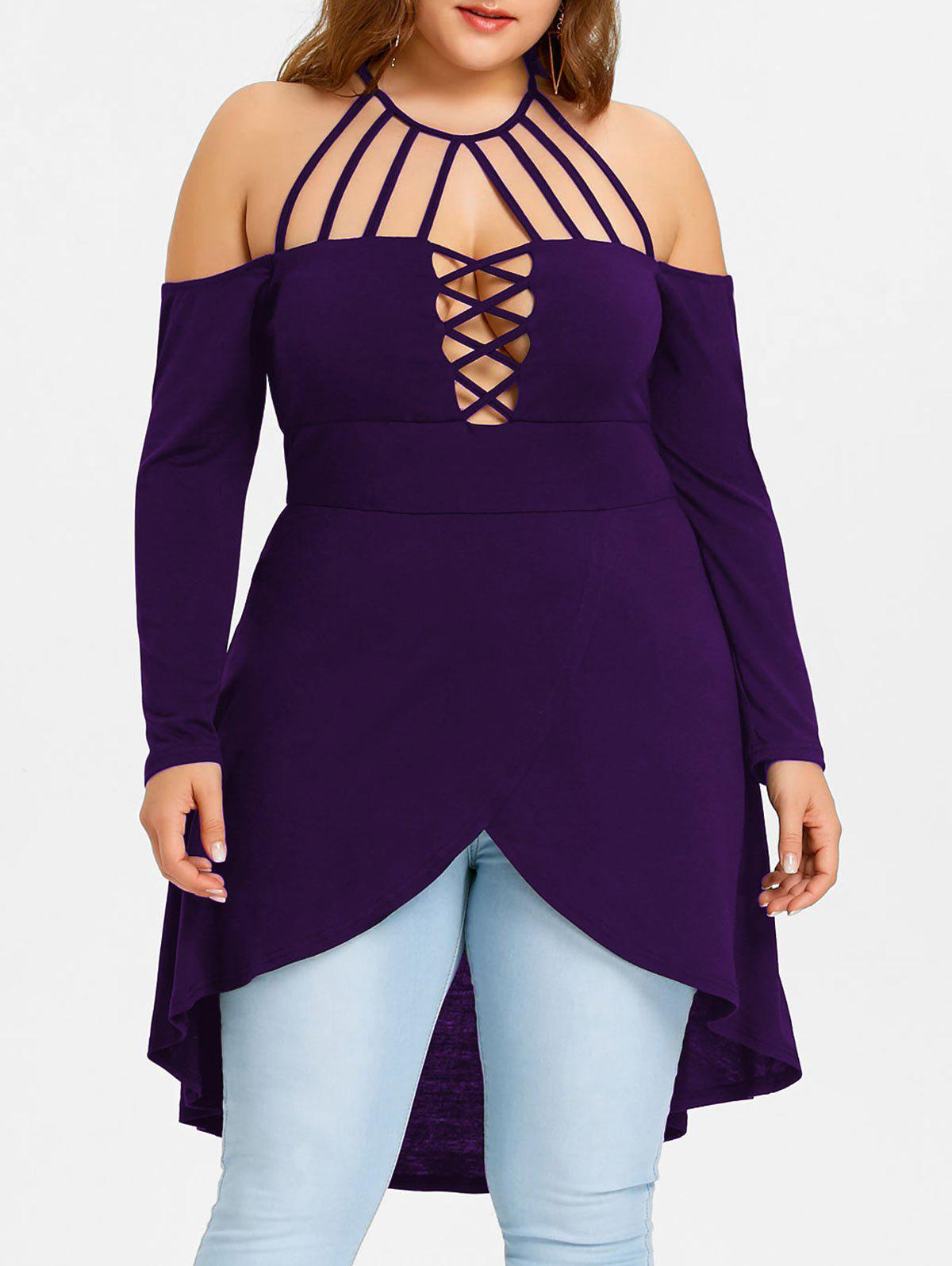 Best Plus Size Open Shoulder Strappy Overlap Tunic T-shirt