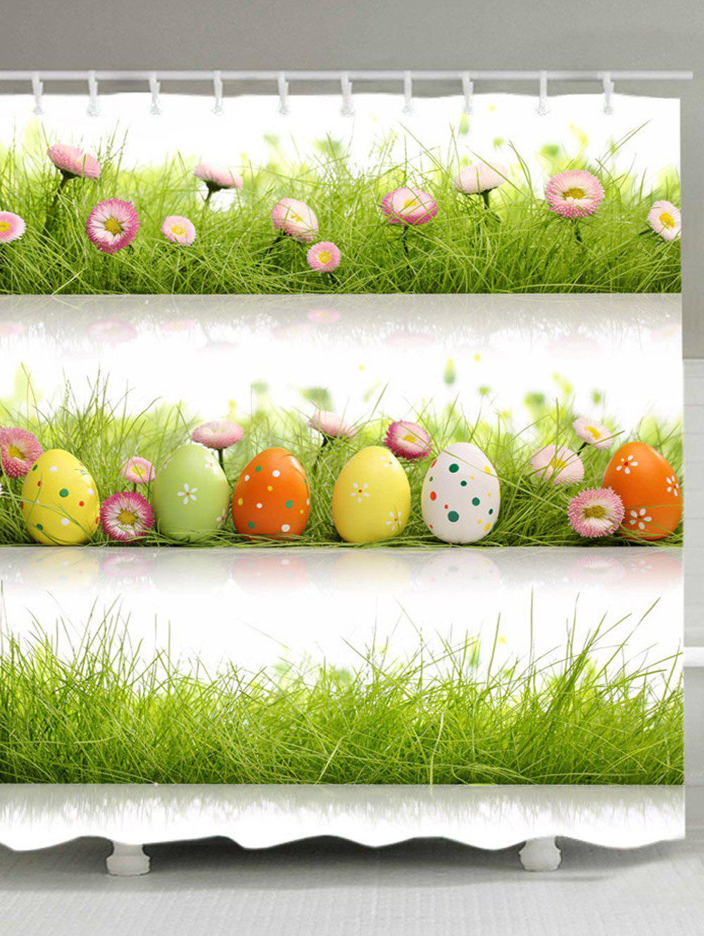 Buy Eggs Grass Pattern Waterproof Bathroom Shower Curtain