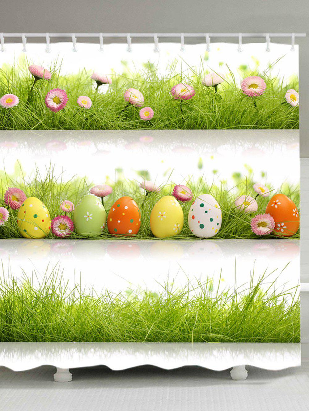 Outfits Eggs Grass Pattern Waterproof Bathroom Shower Curtain