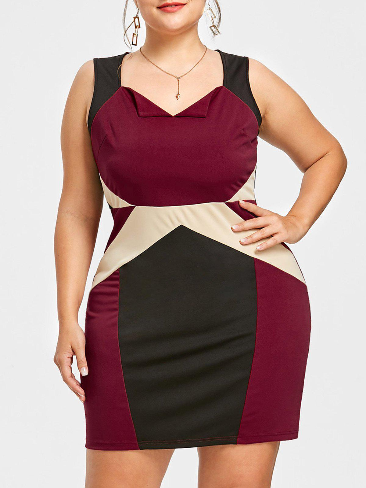 Hot Color Block Plus Size Short Vintage Dress