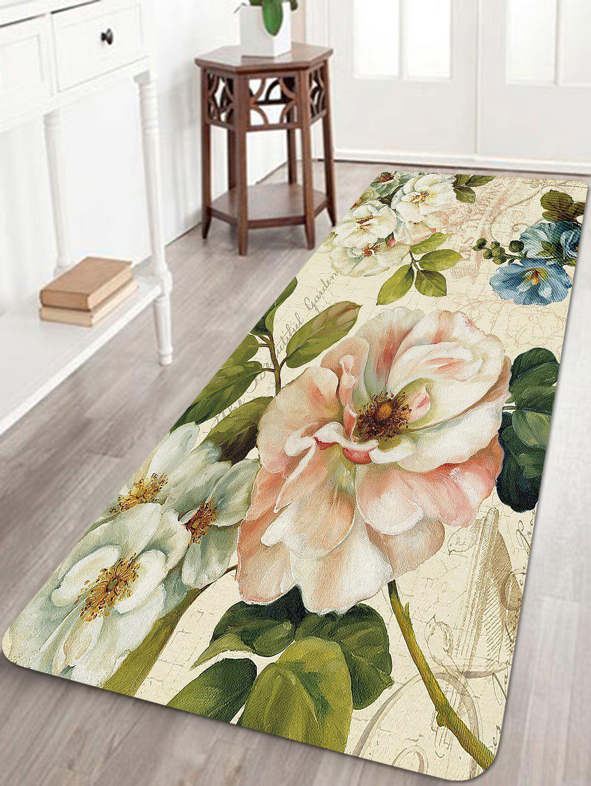 Shops Retro Flowers Pattern Anti-skid Water Absorption Area Rug