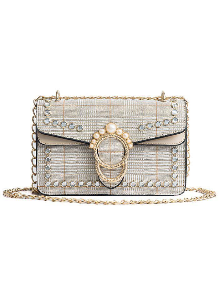 Hot Plaid Chain Shoulder Bag with Pearl Decoration