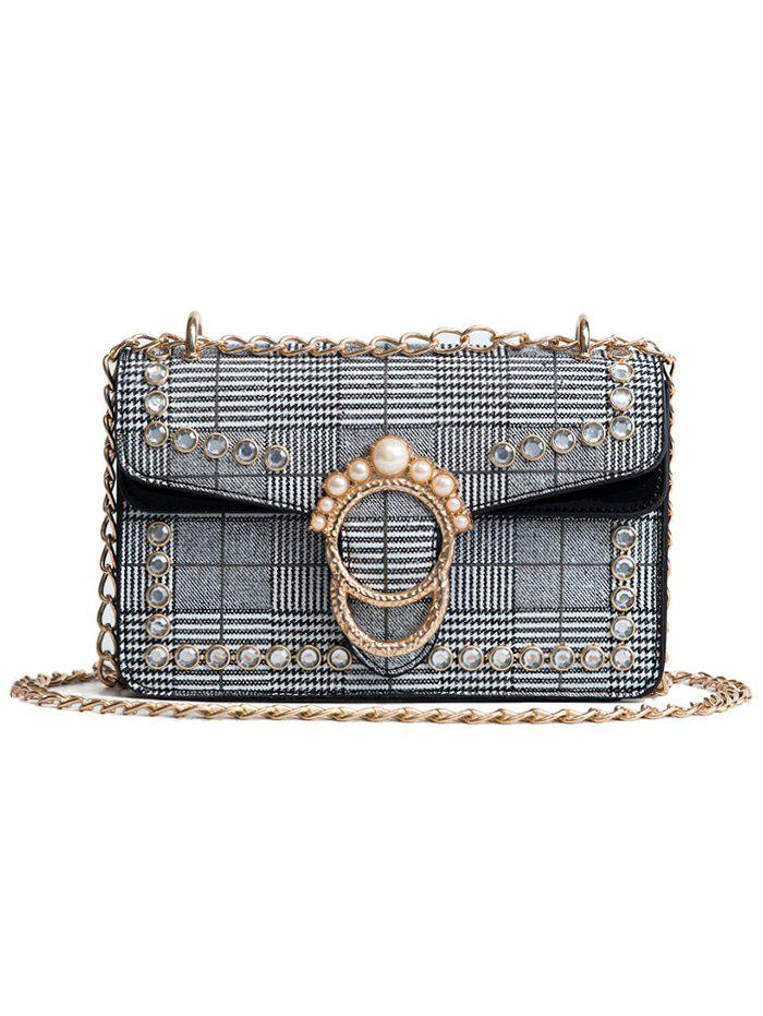 Trendy Plaid Chain Shoulder Bag with Pearl Decoration