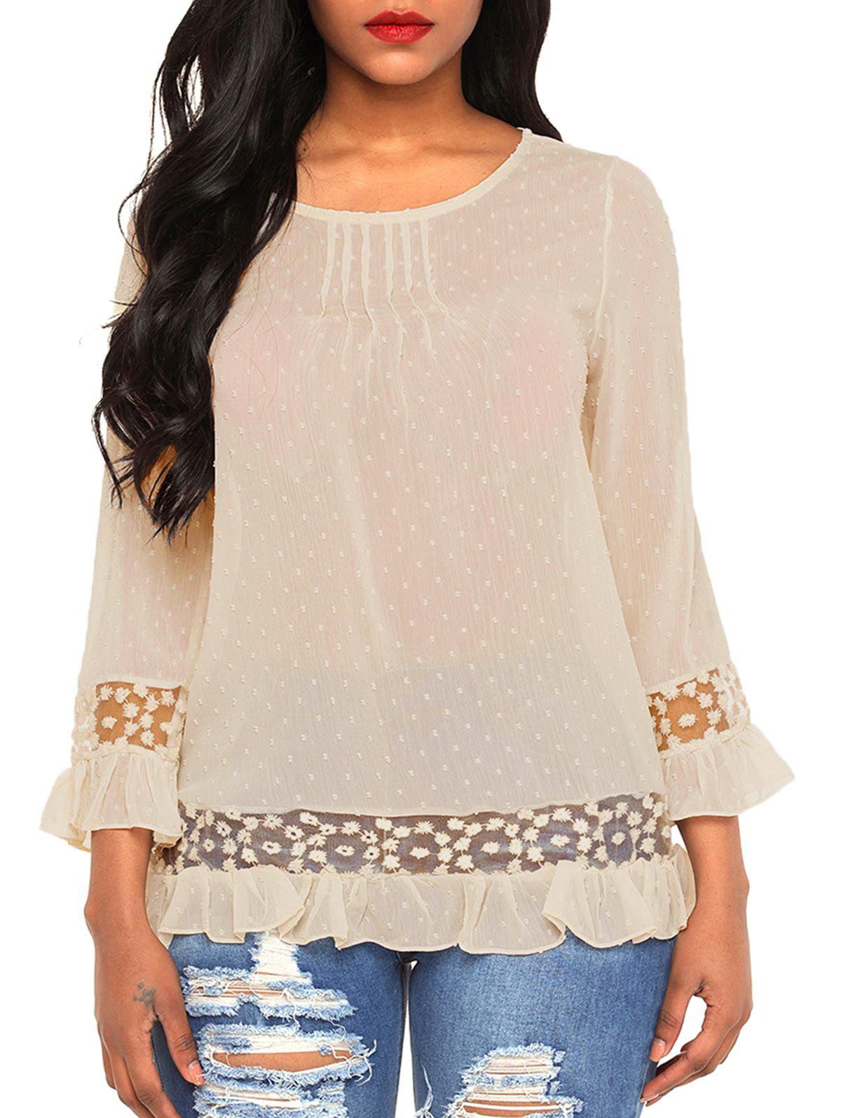 Best Pintuck Lace Insert Chiffon Blouse