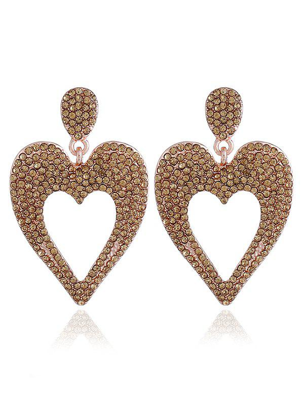 Store Metal Rhinestoned Heart Drop Earrings