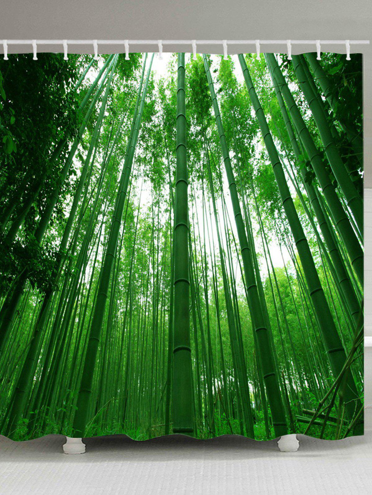 Outfit Bamboo Forest Pattern Waterproof Bathroom Shower Curtain